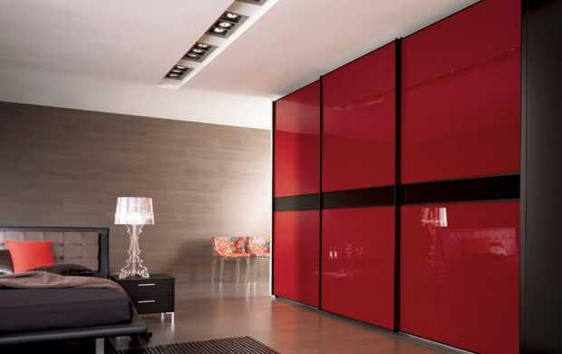 Bedroom with Red Wardrobe