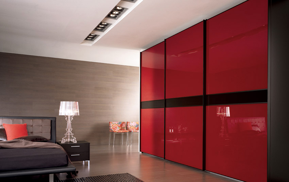 Accessories Bedroom With Red Wardrobe