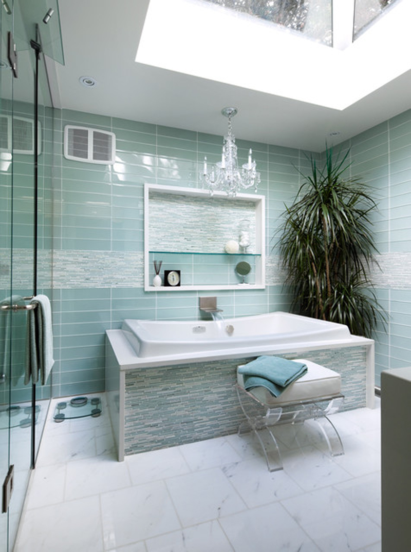 Turquoise interior bathroom design ideas my decorative for Ensuite lighting ideas