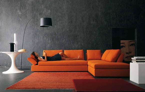 Contemporary Living Room Interior Design Ideas in Black Orange Color