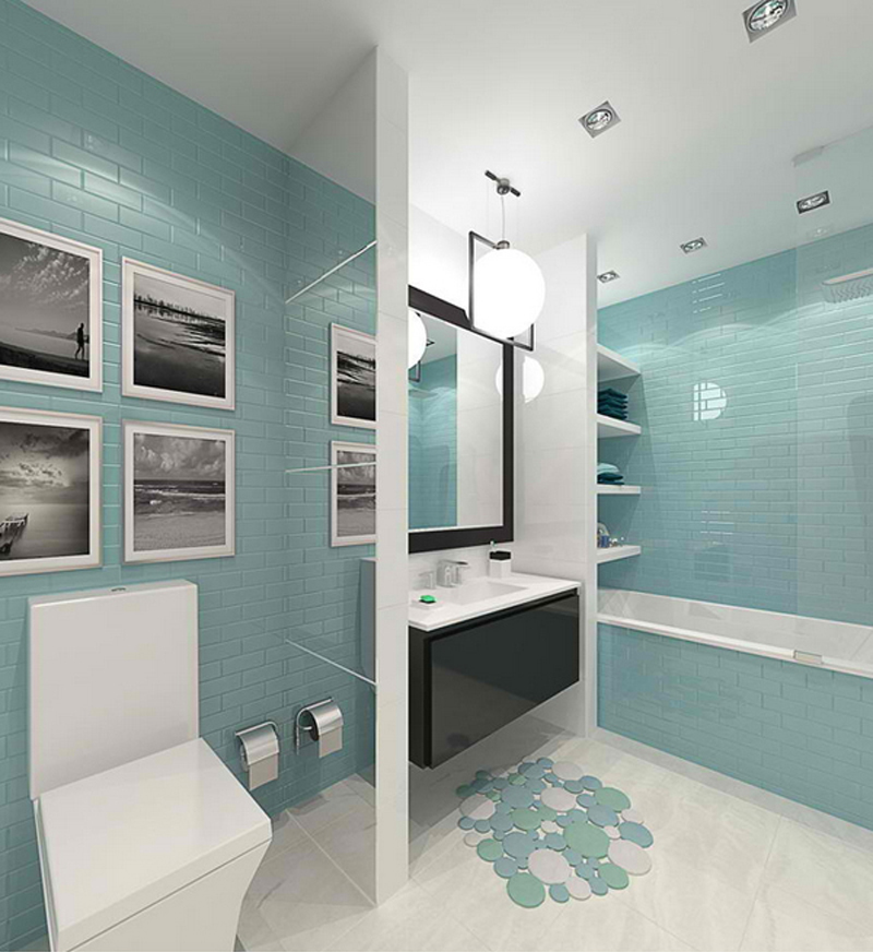 Modern Inspired Bathroom with White And Turquoise Aqua Shades Tiles