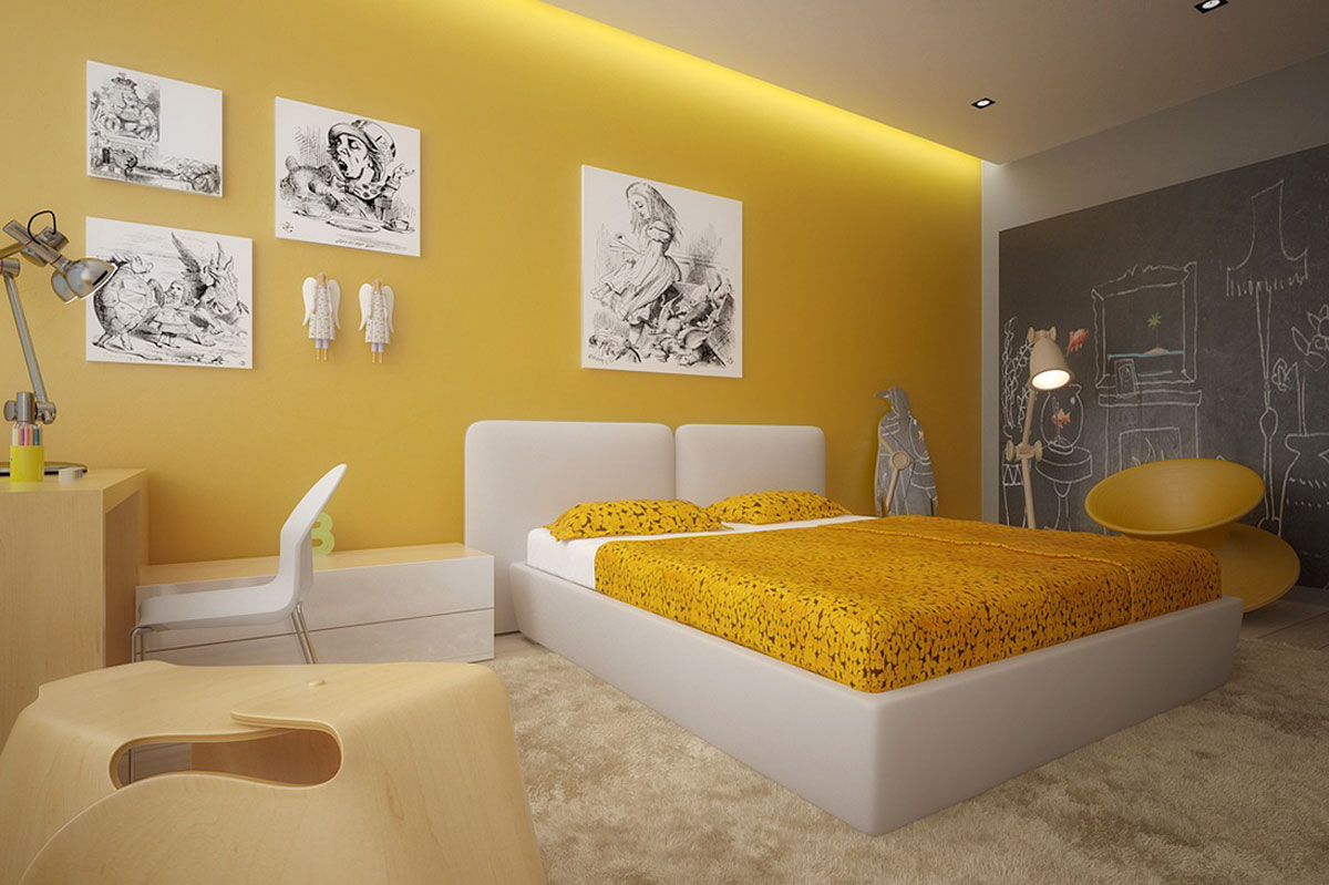 Modern yellow bedroom