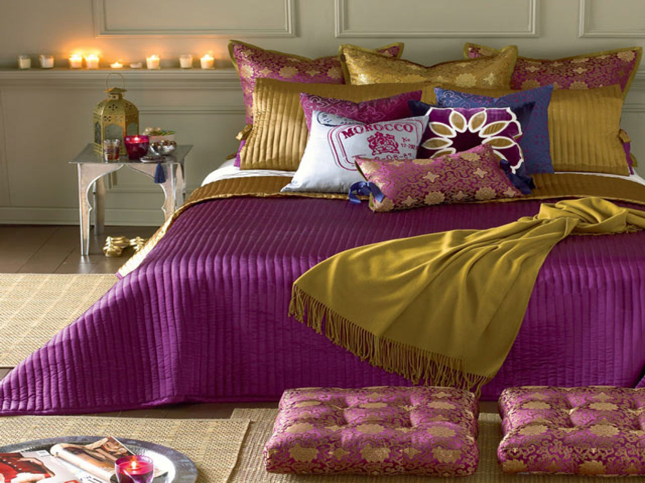 Bedroom Designs with White Purple Golden Pillow