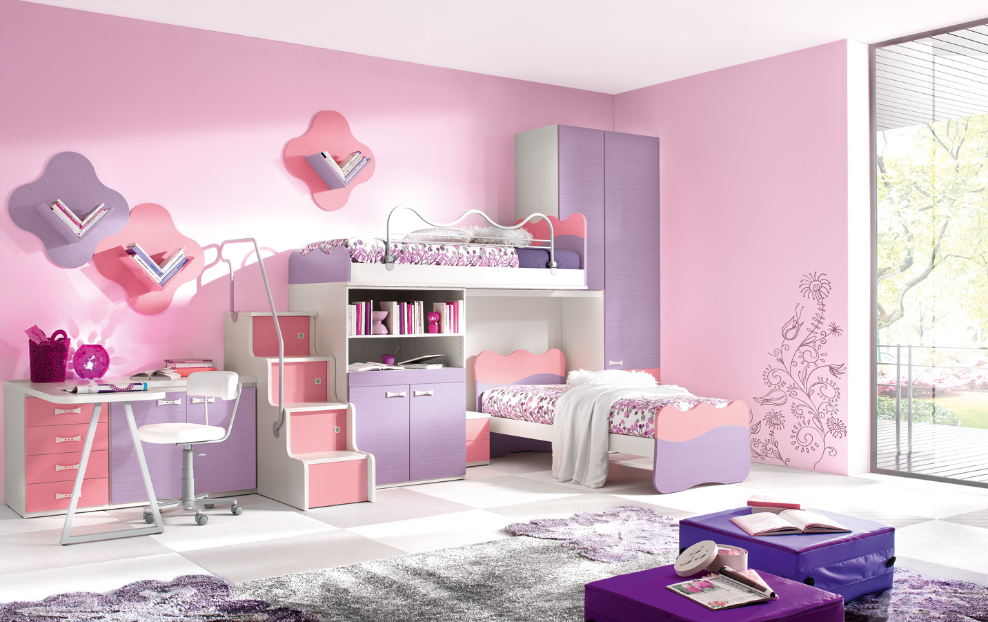 Kids Bedroom Designs. Delightful Modern Kids Bedroom With Bunk Beds ...