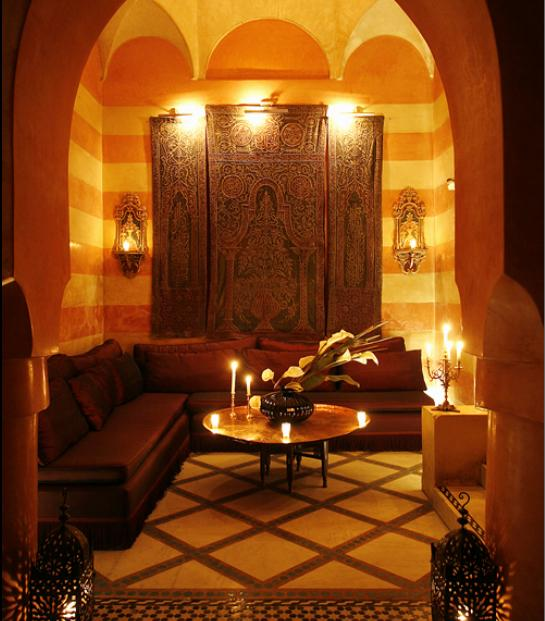 Amazing Luxurious Moroccan Style Room Interior Design Brown Sofa Round Table