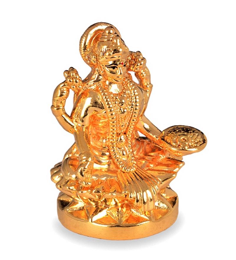 Gold Plated Goddess Lakshmi Idol