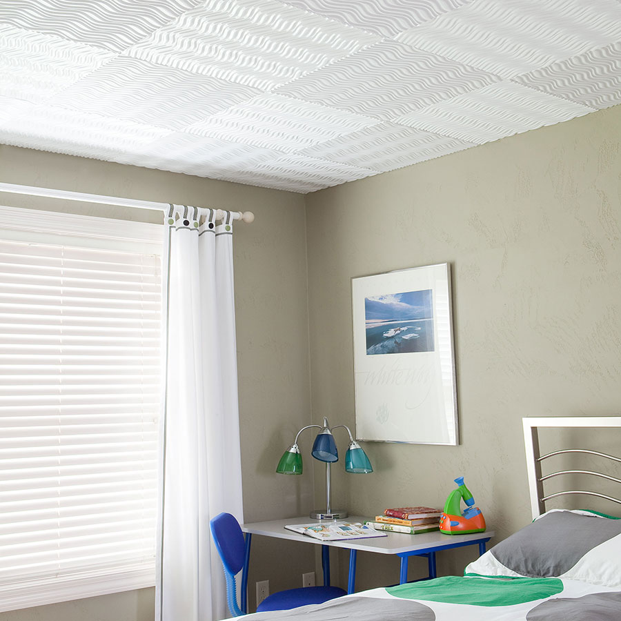Ceiling Tiles Wave Pattern in White