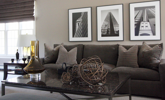 Contemporary Living Room with Pictures on Wall