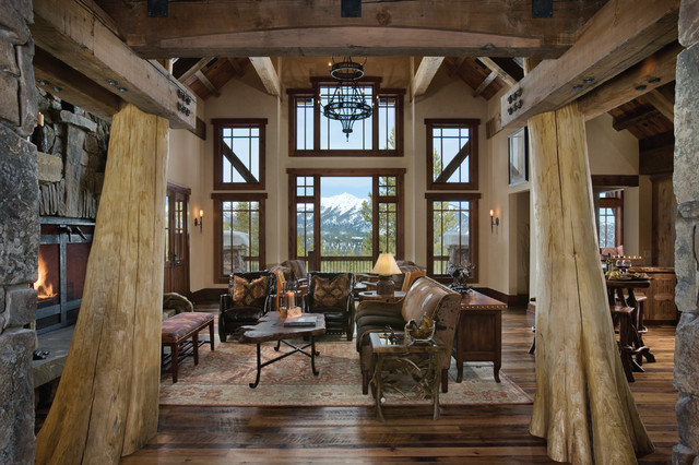 Numerous Styles of Windows in Rustic Living Room