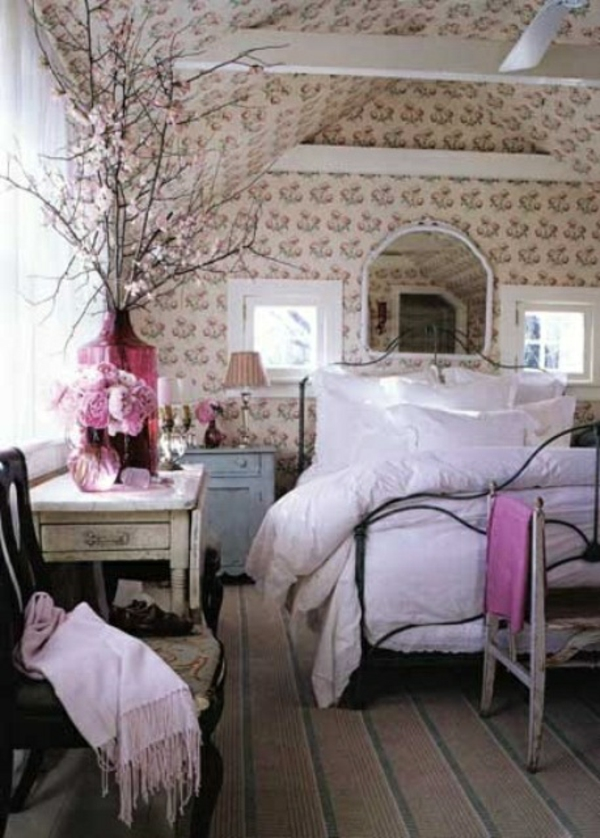 Pink Flowers Floral Bedroom Decoration Idea