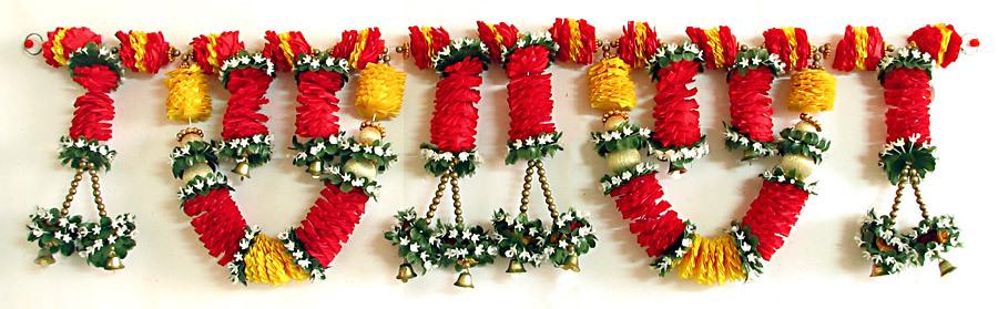 My Decorative 187 Satin Ribbon Flower Door Toran With Golden