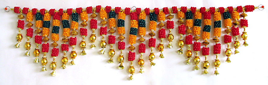 Satin Ribbon Flower Door Toran With Golden Bead