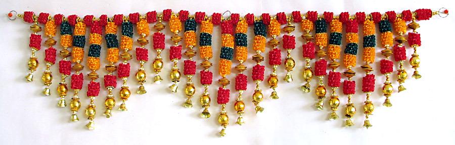 Satin Ribbon Flower Door Toran With Golden Bead  sc 1 st  My Decorative & Importance of Toran in Diwali | My Decorative pezcame.com