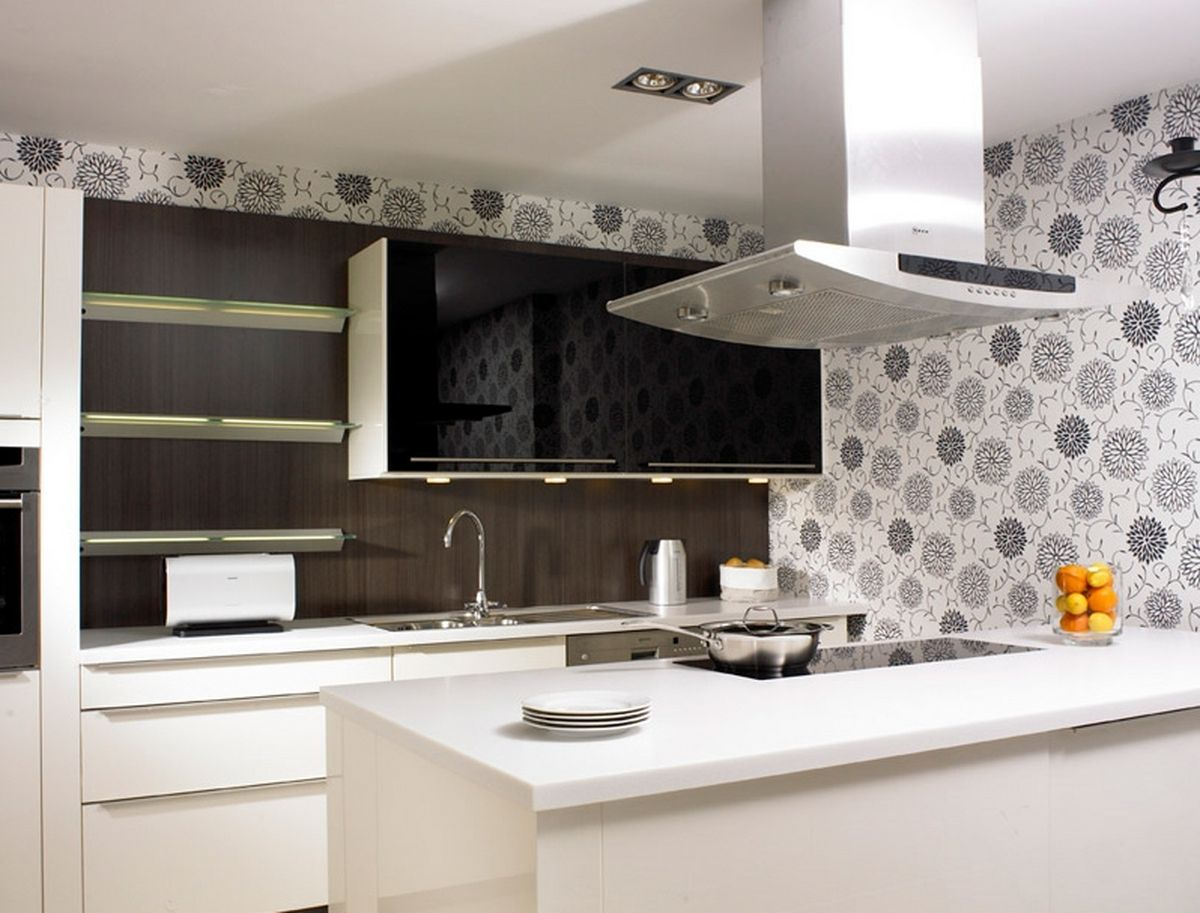 white and brown modern kitchen decorating ideas wall stickers