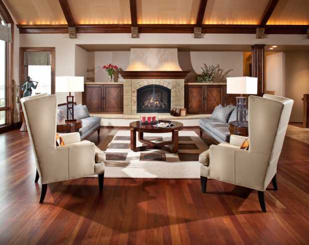 Contemporary Living Room with 3 Dimensional Effect Recessed Wall