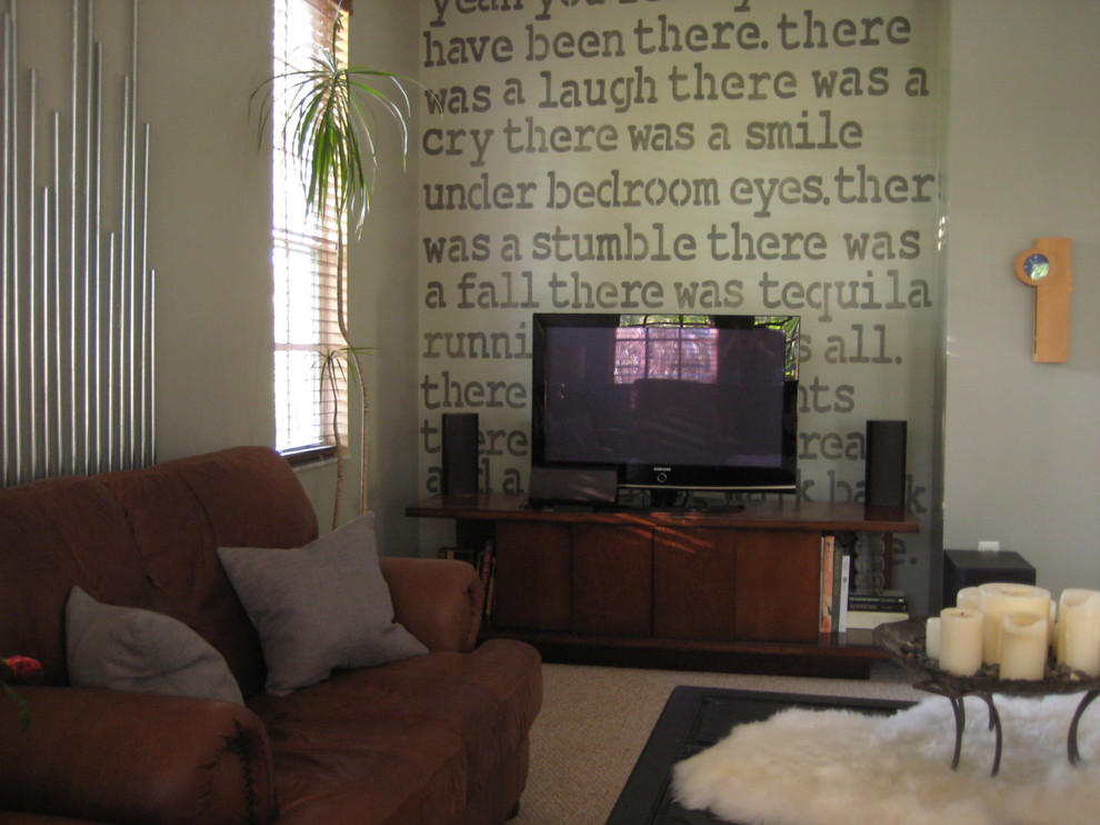 Literary Accents Contemporary Family Room