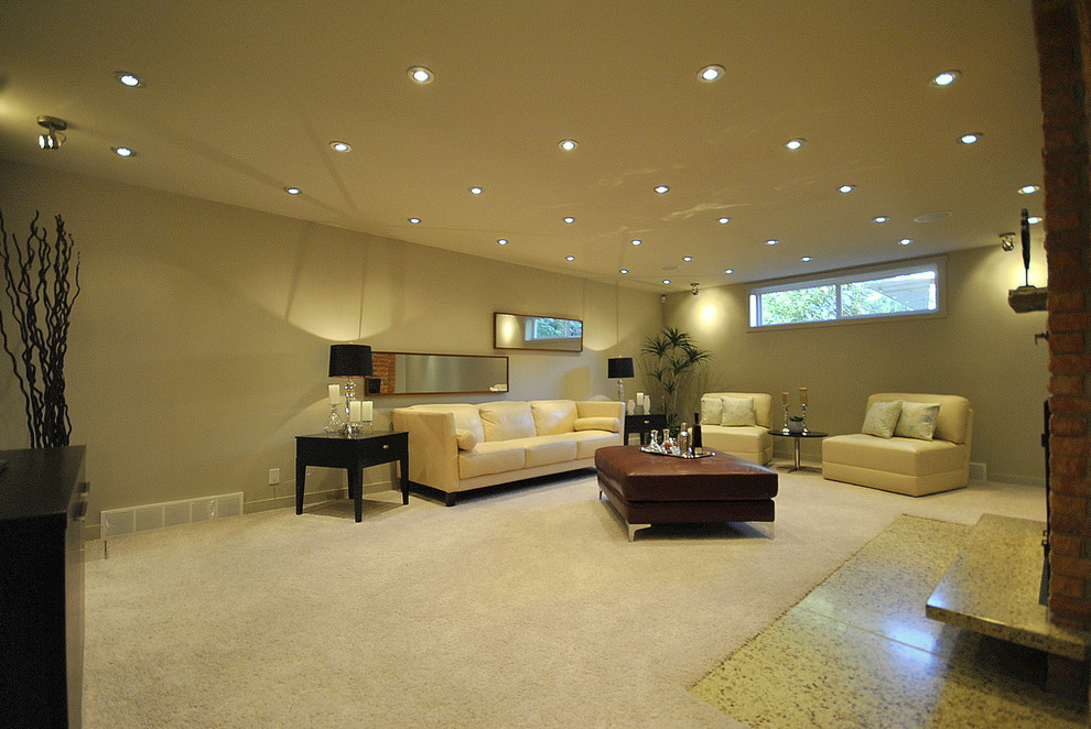 Recessed Lighting in Contemporary Family Room