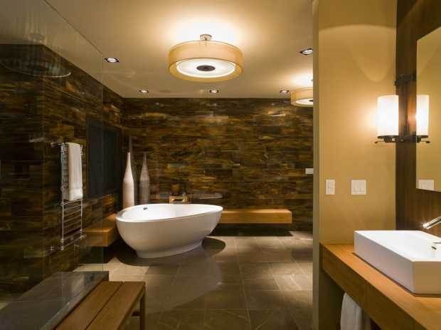 Recessed Walls In Contemporary Bathroom
