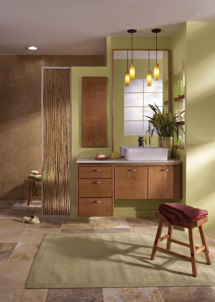 Recessed Wall Cabinet in Contemporary Bathroom