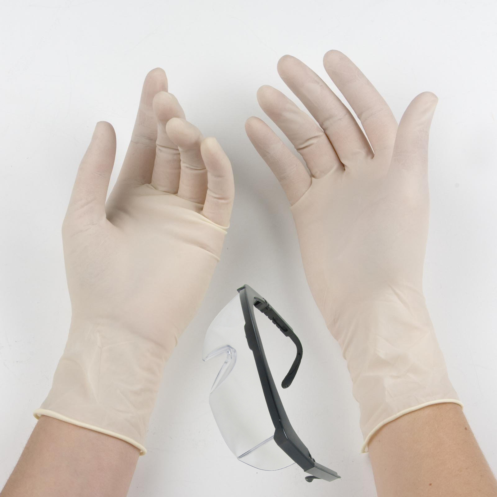 Rubber Gloves and Transparent Goggles