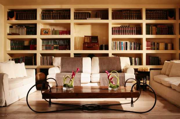 Timber Book Case in Contemporary Living Room