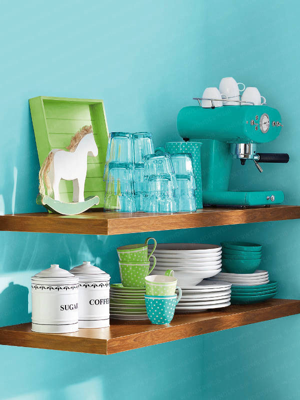 Turquoise Blue Modern Kitchen