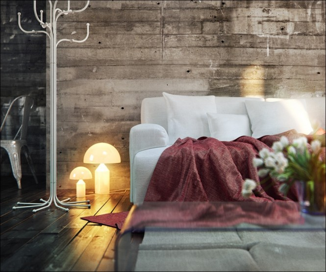 Silver Hanger and Candles Lamp in Wood Clad Interior Wall Feature by Theshd
