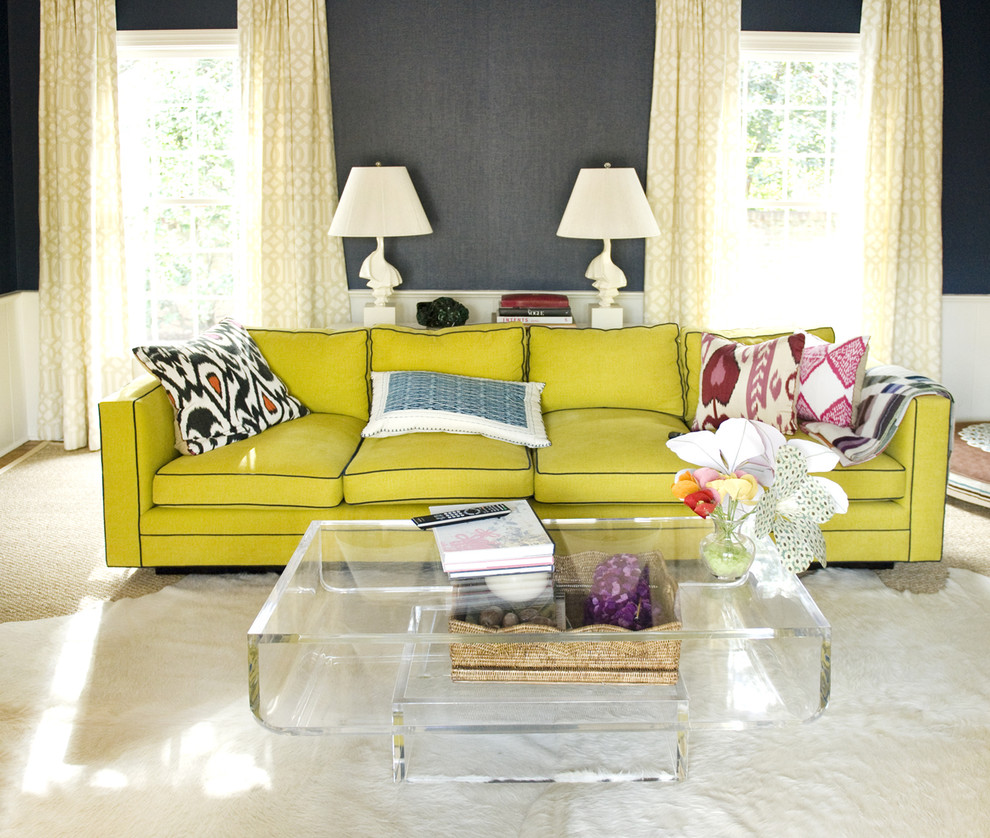 Citron Gray Green Eclectic Living Room