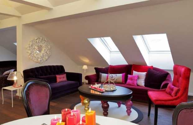Loft Interior Furniture with Pink Sofas and Romantic Candle Light