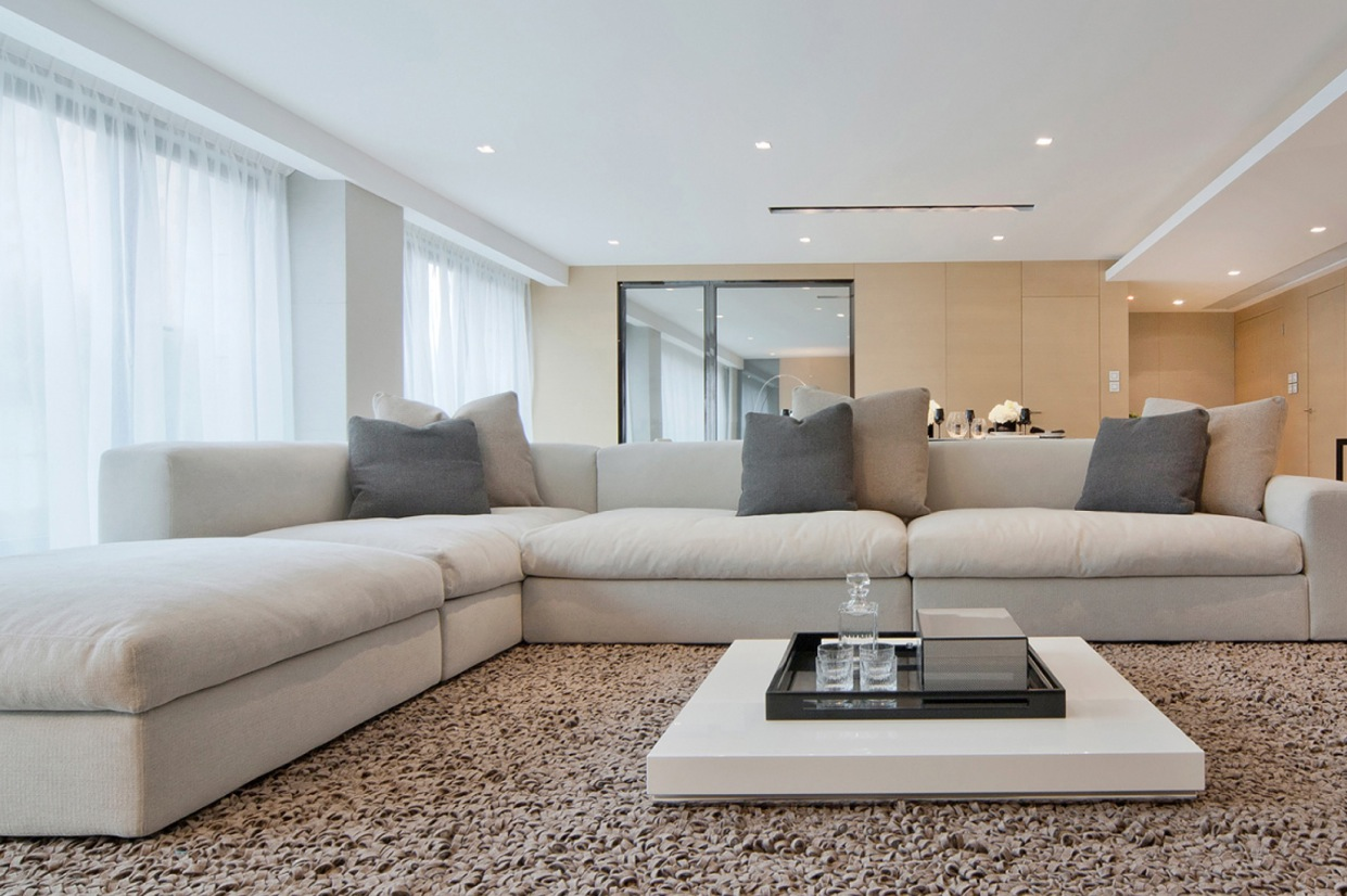Modern Living Room With White Sofa And Low Coffee Table Also Deep Pile Area Rug