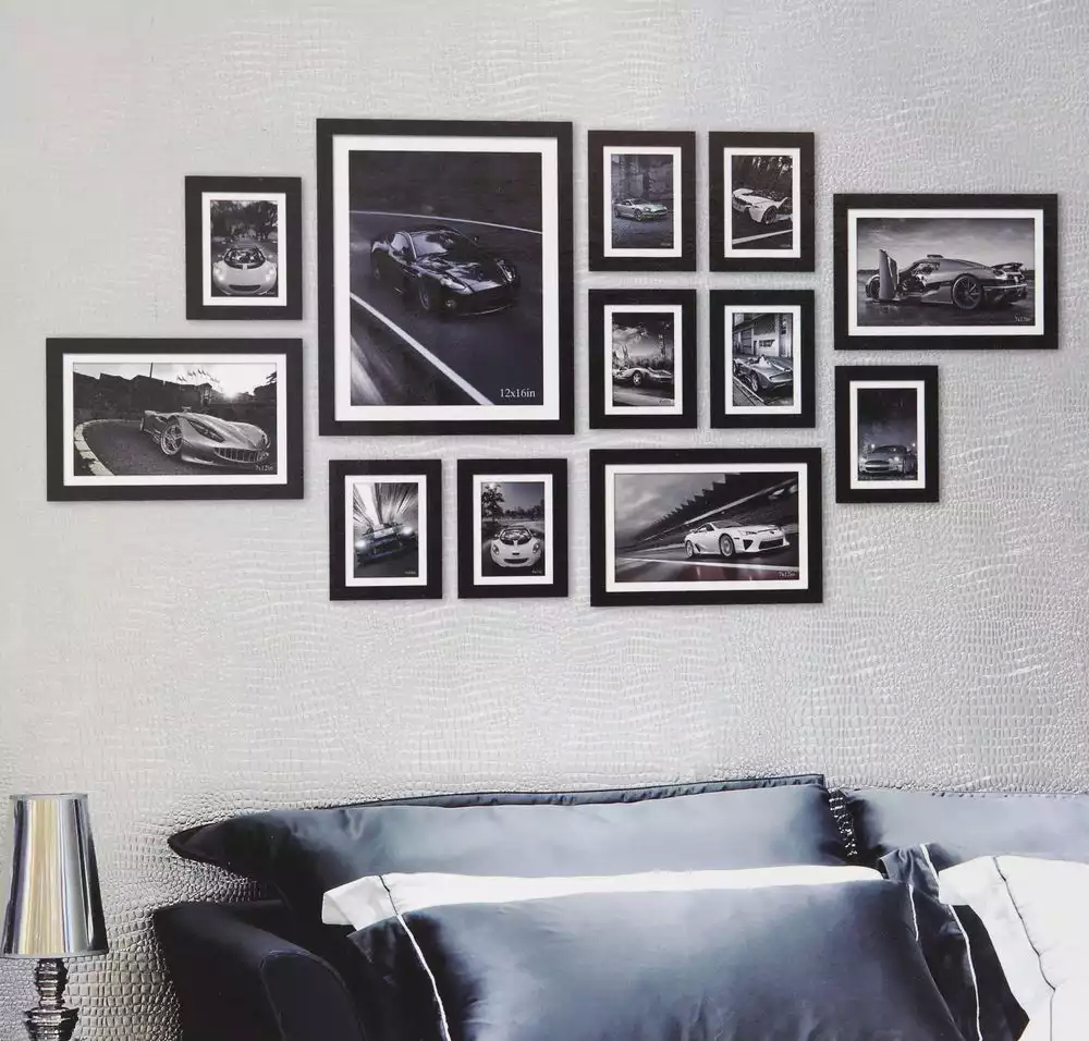 Interior design photo frames wall
