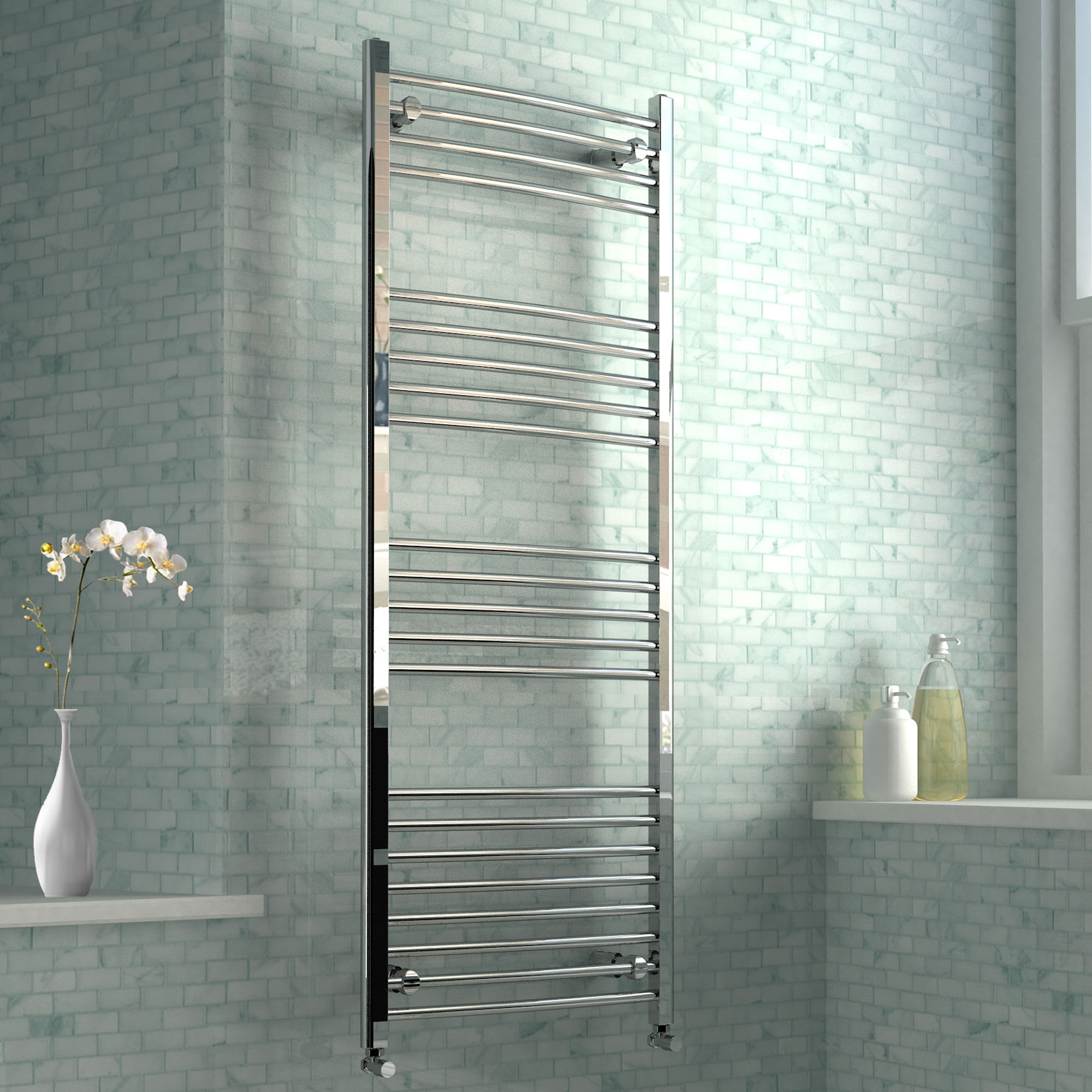 Chrome Curved Rail Ladder Towel Radiator
