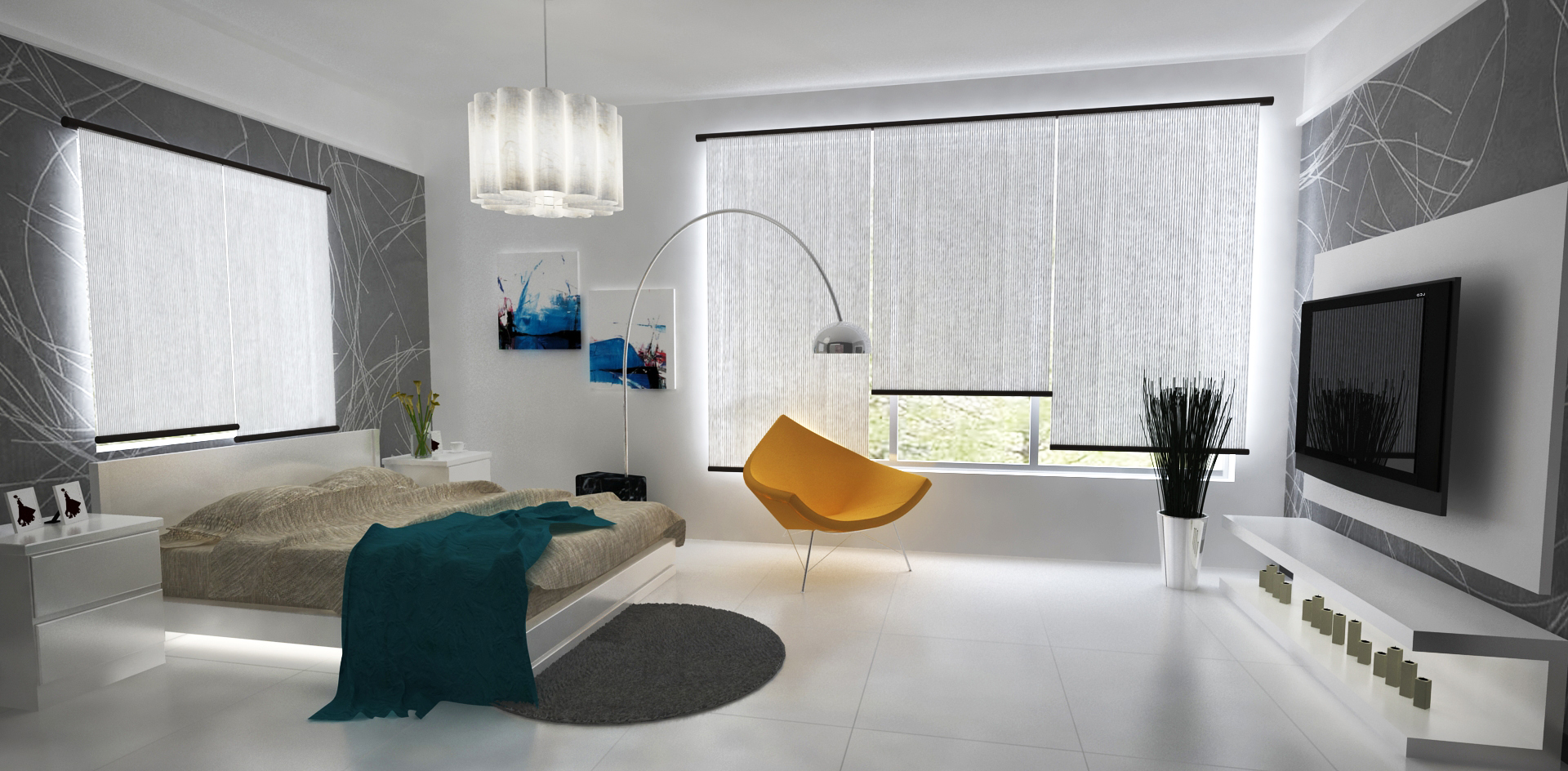 Contemporary Bedroom 3D Visualisation