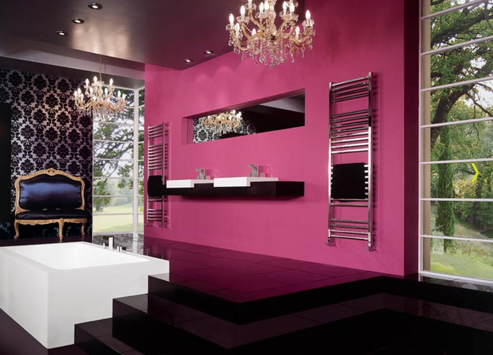 Bathroom radiators going electric my decorative for Pink black bathroom ideas