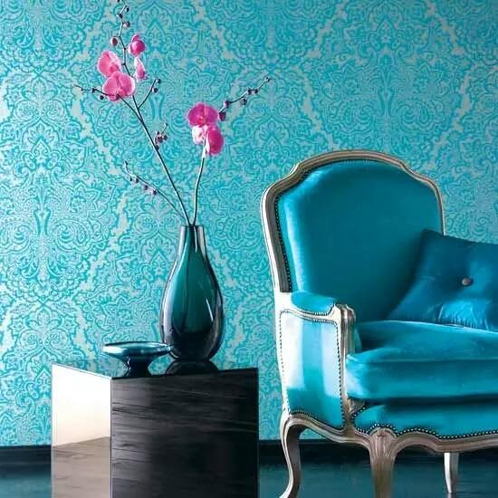 Aqua Blue Interiors With Metallic Wallpaper For Interior Design