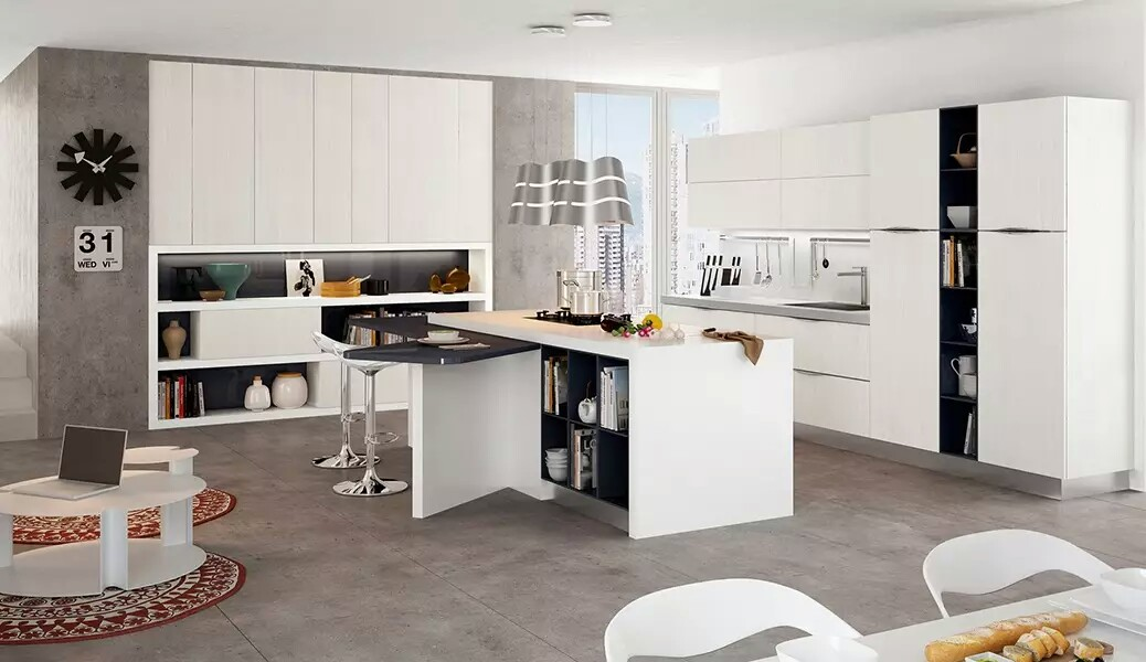 Bright Off White Sunny Kitchen Design Ideas