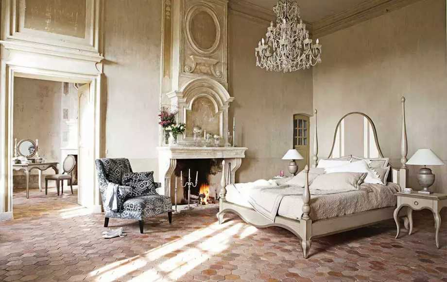 Classic French Style Bedroom Design with Fireplace