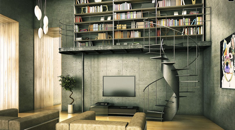 Contemporary-Library-Industrial-Interior-Design