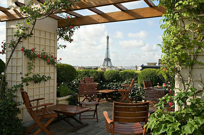 Eiffel Tower View Terrace Paris