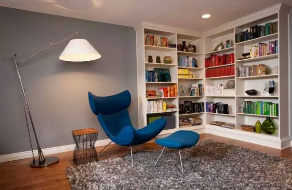 Elegant Family Modern corner Wall shelf Ideas Blue couch Design