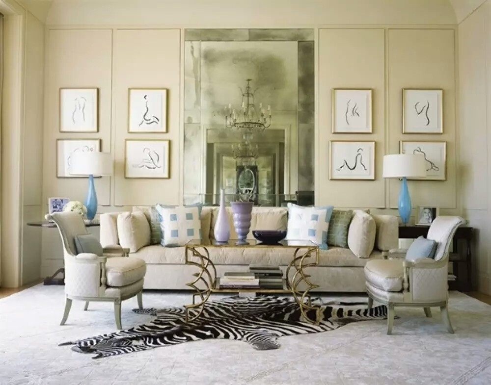 My Decorative » French Interior Design Living Room With Sofa Mirror Wall  Chandelier~01