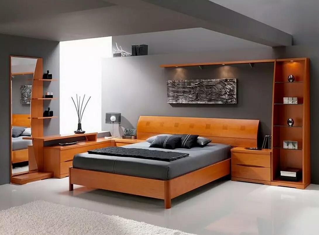 Full Bedroom Furniture Sets With Gray Wall