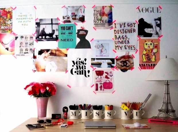 Mood Board stikers on wall