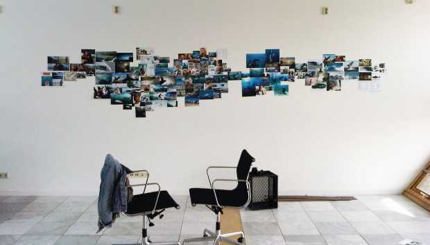Mood board on Large white wall