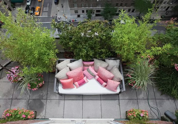 Rooftop Gardens Pink Couch New York