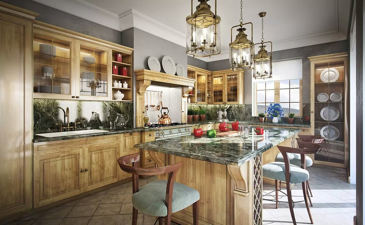 Rustic Kitchen Good Traditional Design Idea