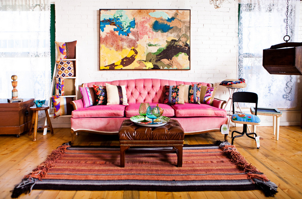 Bohemian Interiors With Paintings And Pink Sofa
