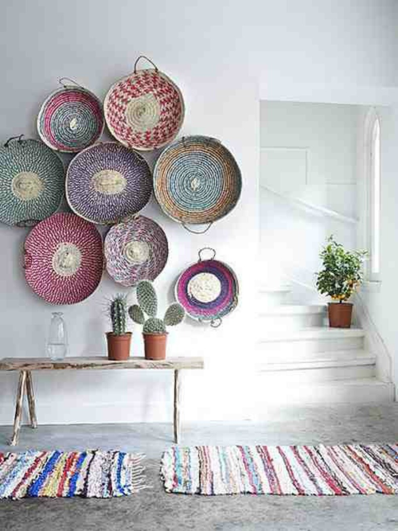 bohemian decor - bohemian interior design - eclectic decor - interior design - decor - living room design - woven baskets