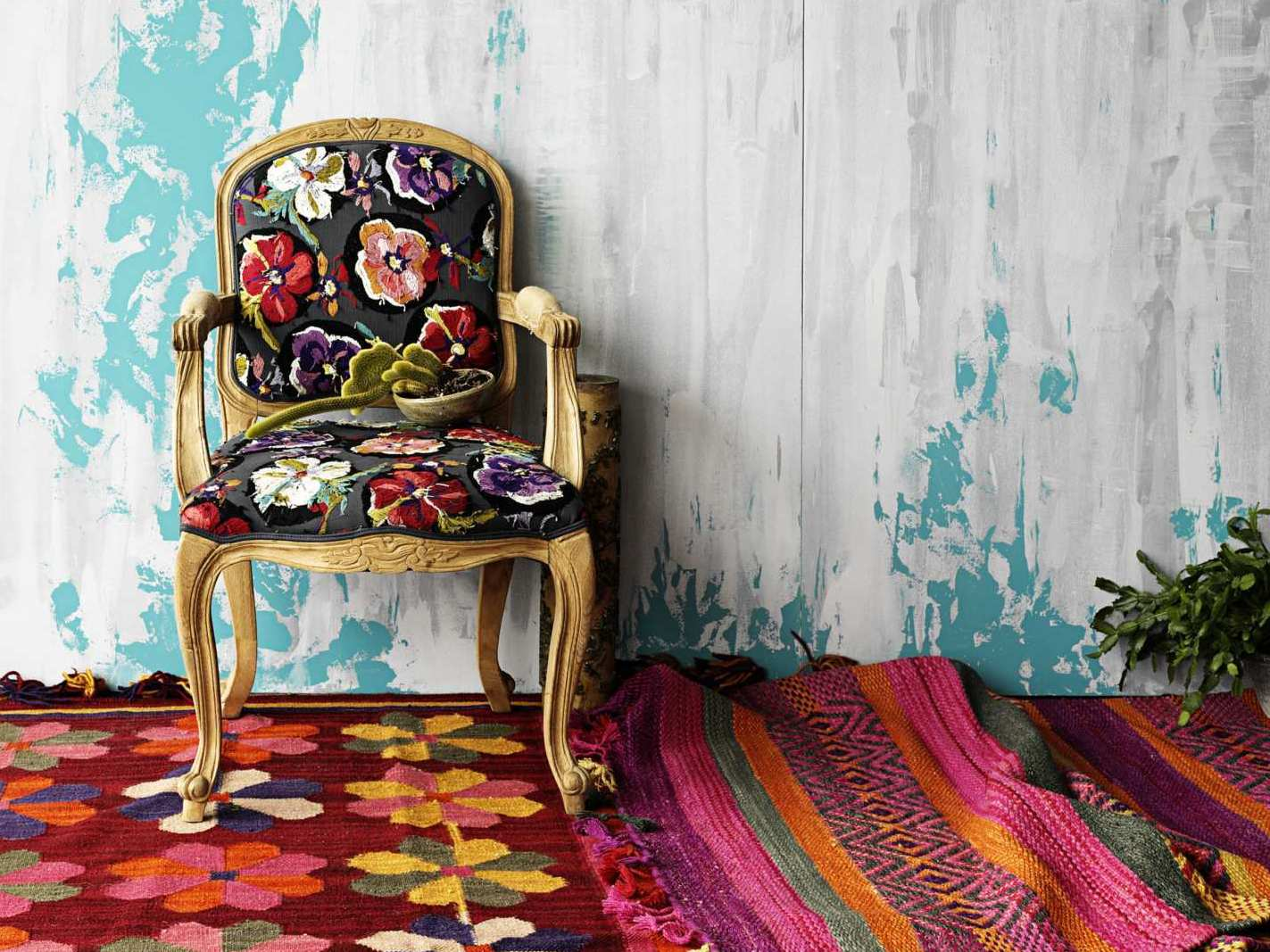 My decorative bohemian interiors white wall red rug featured for Bohemian interior design style