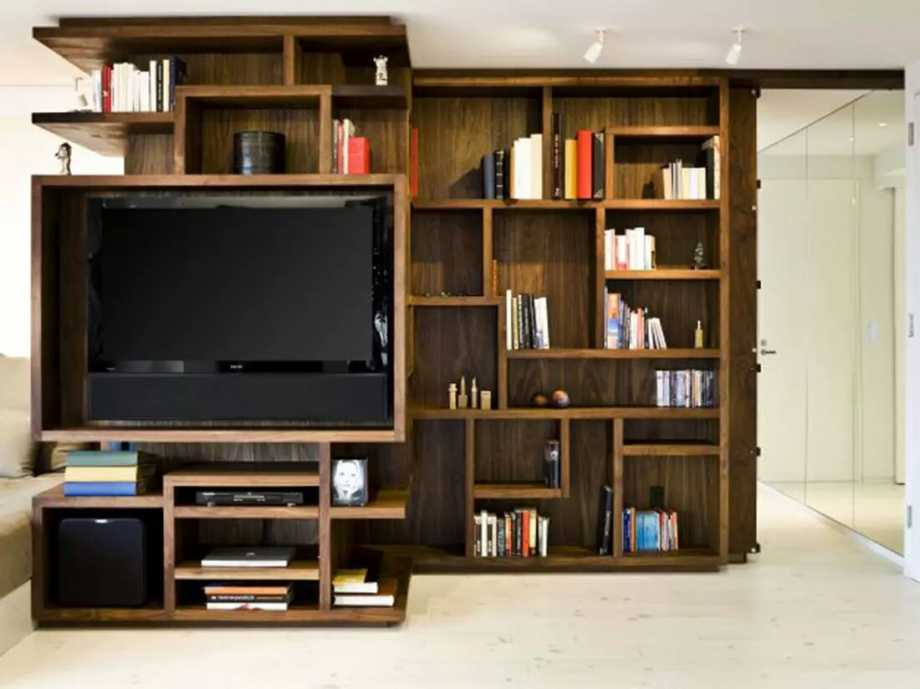 Beautiful bookshelves design my decorative - Hanging tv on wall ideas ...
